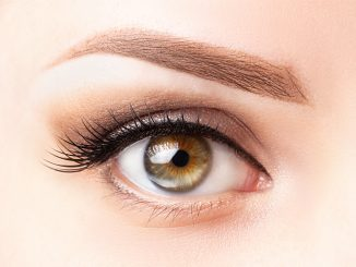 Image of one eye with microblading