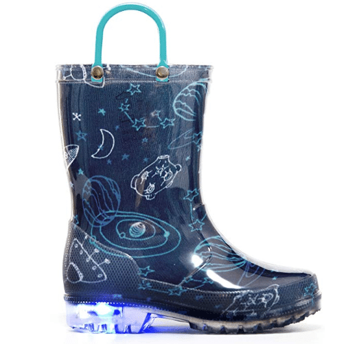 MOFEVER Toddler Kids Thermal Rain Boots Solid Color with Buckle in blue space pattern